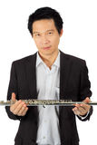 Fachowy fletowy gracz na bielu Fotografia Royalty Free