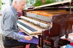 Fachowy fortepianowy technik usuwa klawiaturę dla strojeniowego repai Zdjęcia Stock