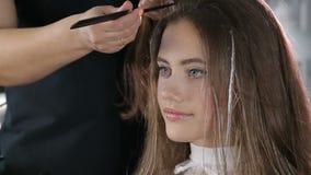 Fachowy fryzjer, stylista barwi nastoletniego dziewczyna włosy zbiory