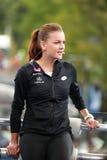 Fachowy gracz w tenisa Agnieszka Radwanska Polska podczas TV wywiadu z Eurosport analitykiem Mats Wilander Obraz Royalty Free