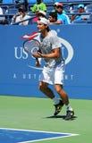 Fachowy gracz w tenisa David Ferrer od Hiszpania ćwiczy dla us open 2013 Fotografia Stock