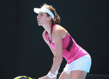 Fachowy gracz w tenisa Johanna Konto Wielki Brytania w akci podczas jej kwartalnego definitywnego dopasowania przy australianem o Fotografia Stock