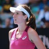 Fachowy gracz w tenisa Johanna Konto Wielki Brytania w akci podczas jej kwartalnego definitywnego dopasowania przy australianem o Fotografia Royalty Free