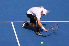 Fachowy gracz w tenisa Kevin Anderson Południowa Afryka w akcji podczas jego 2018 us open round 16 dopasowanie fotografia stock