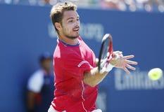 Fachowy gracz w tenisa Stanislas Wawrinka podczas półfinału dopasowania przy us open 2013 przeciw Novak Djokovic Fotografia Royalty Free