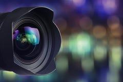 Fachowy kamera obiektyw z bokeh tłem Obraz Stock