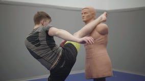 Fachowy młody człowiek bije atrapy z jego pięścią w gym Młoda ufna boksera ciupnięcia atrapa ciało ludzkie kształt zbiory