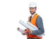 Fachowy męski budowa biznesmen z jego projektami Obraz Stock