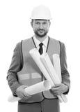 Fachowy męski budowa biznesmen z jego projektami Zdjęcie Stock