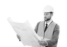 Fachowy męski budowa biznesmen z jego projektami Obrazy Stock