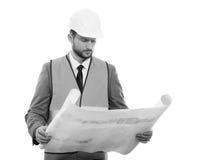 Fachowy męski budowa biznesmen z jego projektami Obraz Royalty Free
