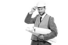 Fachowy męski budowa biznesmen z jego projektami Zdjęcia Royalty Free