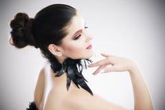 Fachowy makeup i fryzura, piękny młodej kobiety zakończenie up zdjęcie royalty free