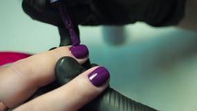 Fachowy manicurzysta, manicure praca w czarnych rękawiczkach przy piękno salonem Ciemne purpury, piękni menchia gwoździe, zakończ zbiory