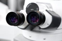 Fachowy medycyna mikroskopu zakończenie, biotechnologii mikrobiologii technologii laboratorium zdjęcie royalty free