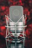 Fachowy mikrofon w unfocused tle łyszczyk obraz stock