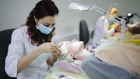 Fachowy rzęsa wytwórca pracuje z klientem Cosmetologist wzrasta rzęsy dziewczyny zbiory wideo