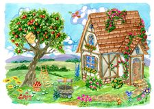 Free Fachwerk Cottage House With Apple Tree, Old Well, Garden Objects And Bird Stock Images - 118842644