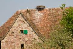 Fachwerk- Haus in einem Dorf in Elsass Lizenzfreie Stockfotos