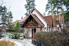 Fachwerk house in winter. Fachwerk house in snowy weather Royalty Free Stock Photo