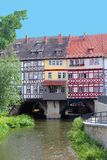 Picturesque fachwerk houses at the Merchants Bridge along the river, Erfurt, Germany. Colorful fachwerk houses at the Merchant Bridge Kraemerbruecke in Erfurt Stock Images