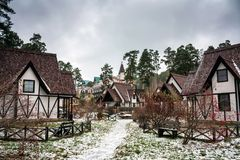 Fachwerk houses in winter. Fachwerk houses in snowy weather Stock Images