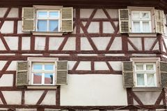 Fachwerk medieval house. Fachwerk of medieval house in Bamberg, Germany Stock Photo