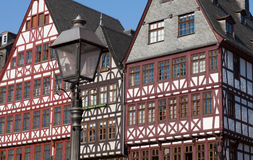 Fachwerk Roemer. The Roemerberg lies at the heart of Frankfurt and is the most historical quarter in the city's central area. Full of Fachwerk (half timbered) Royalty Free Stock Photo