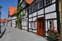 fachwerkhäuser村庄在德国 库存图片