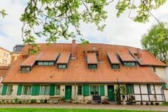 Fachwerkhaus beim Johanniskloster in Stralsund, Deutschland Lizenzfreies Stockfoto