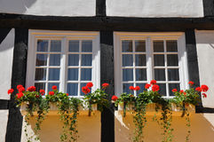 Fachwerkhaus in Germany with flowers Stock Photo