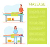 Facial and Abdominal Belly Massage Poster Vector. Facial and abdominal and belly massage done by masseuse. Poster with text sample and info about massaging stock illustration