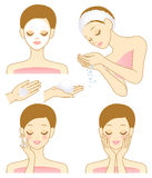 Facial beauty. Woman who cares for her skin. Vector illustration Royalty Free Stock Photography