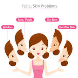 Girl With Facial Skin Problems. Facial Beauty Cosmetic Makeup Treatment Healthy royalty free illustration