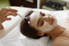 Facial Beauty Treatment. Beautiful Woman Getting Cosmetic Mask Stock Photography