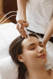 Facial Beauty Treatment. Woman Getting Oxygen Water Skin Peeling Royalty Free Stock Photo