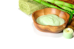 Facial and Body Care Cream in a Wood Bowl in a Spa stock images