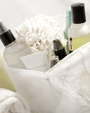 Facial care. Facial skin care products in a basket Royalty Free Stock Image