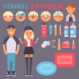 Facial care skin problems vector clean humancosmetic pimple dermatology instability facial skinny care teenager defects. Facial care skin problems icons clean Stock Photo