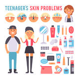 Facial care teenager people defects skin problems infographic elements vector. Stock Photography