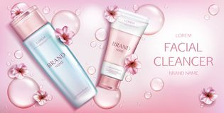 Free Facial Cleanser Cosmetics Bottles Mockup Banner Royalty Free Stock Photo - 150293835
