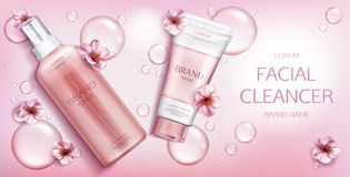 Free Facial Cleanser Cosmetics Bottles Mockup Banner Stock Photo - 152060480