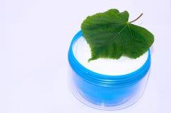 Facial cream. Cosmetics facial cream green leaf Stock Photography