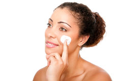 Facial cream beauty treatment Royalty Free Stock Photo