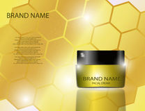Facial Cream for Skin on Golden Bright Yellow Honeycomb Background Royalty Free Stock Photo