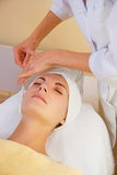 Facial cryogenic massage Royalty Free Stock Photo