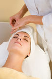 Facial cryogenic massage Royalty Free Stock Image