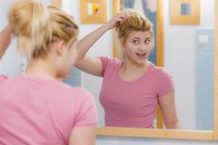Young woman having gel mask on face Royalty Free Stock Images