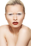 Facial emotion, high fashion make-up on model face Royalty Free Stock Photos