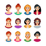 Facial Emotions Collection. Of pretty girls with different expressions and feelings isolated vector illustration Stock Image